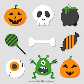 Knochenpackung mit anderen halloween-elementen im flachen design
