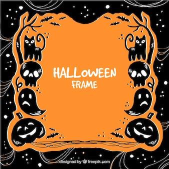 Knochenrahmen mit halloween-elementen