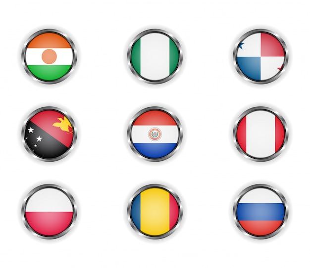 Knöpfe mit dem metallischen rahmen der landesflaggen.