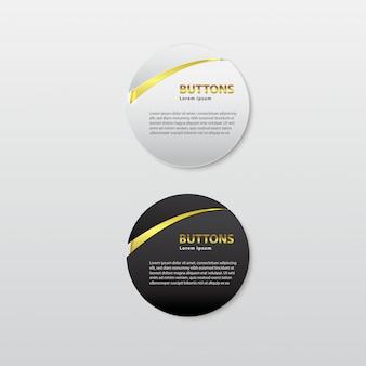Knopf premium glänzendes schwarz-weiß-gold