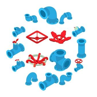 Knopfikonen des druckens 3d eingestellt, isometrische art