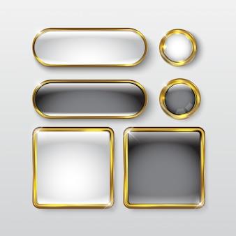Knopfset web glänzend schwarz gold