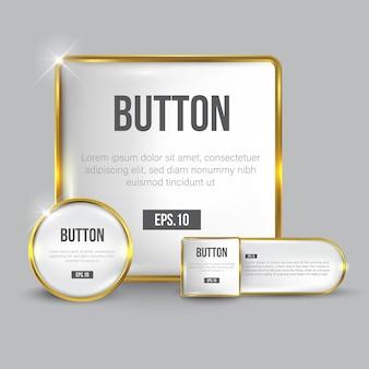 Knopfset web glänzendes weißgold