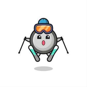 Knopfzellen-maskottchen-charakter als skispieler, süßes stildesign für t-shirt, aufkleber, logo-element