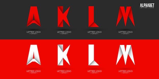 Knusprige alphabete-logos im origami-stil