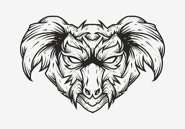 Koala head logo line art