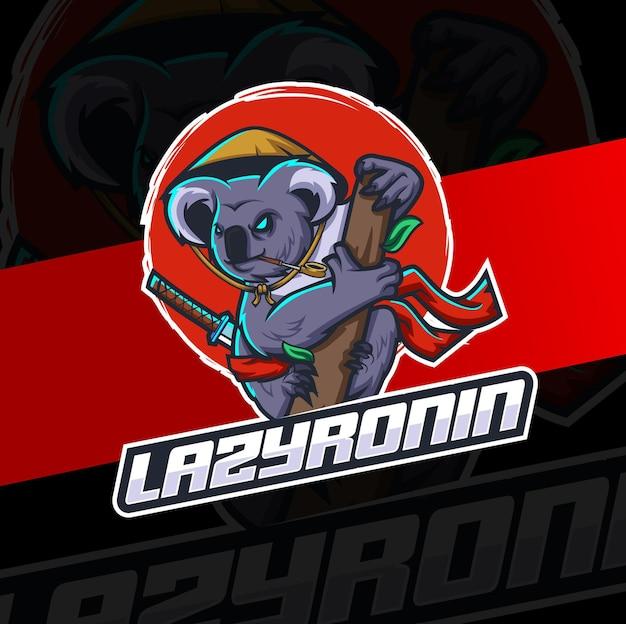 Koala-maskottchen-ninja-charakter für sport- und gaming-logo-designs