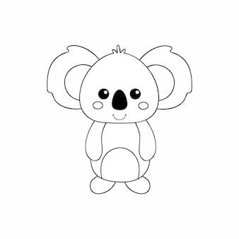 Koala mit kontur gezeichnet. einen koala mit einer schwarzen linie zeichnen. vektor-malbuch für kinder. aufgaben für die kindliche entwicklung.