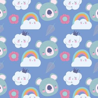 Koala regenbogenwolken krone dekoration cartoon niedlichen tiere charaktere Premium Vektoren