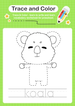 Koala-spur und farbvorschul-arbeitsblatt-spur
