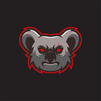 Koala tierkopf logo vorlage illustration. esport logo spiel premium-vektor