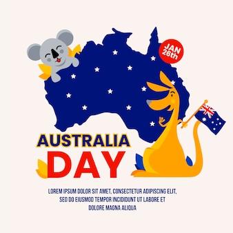 Koala und känguru und die sternenklare nachtkarte von australien