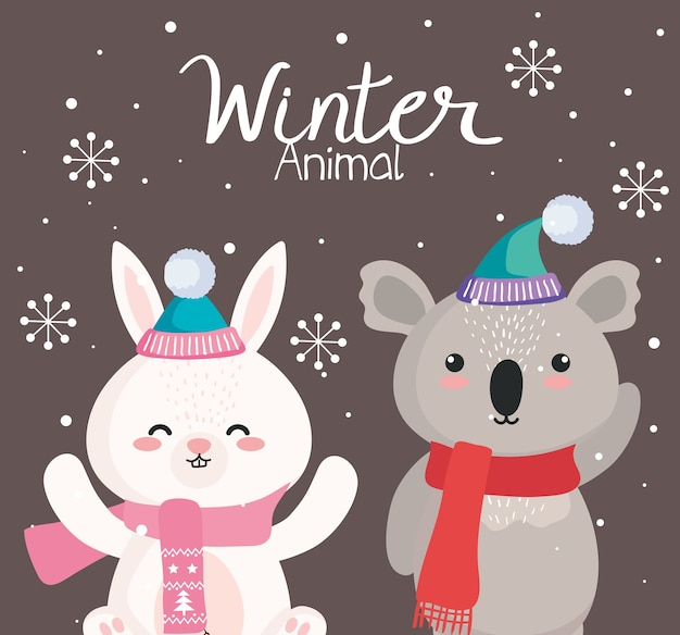 Koala- und kaninchenkarikaturen im wintersaisonentwurf, frohe weihnachten und dekorationsmotiv