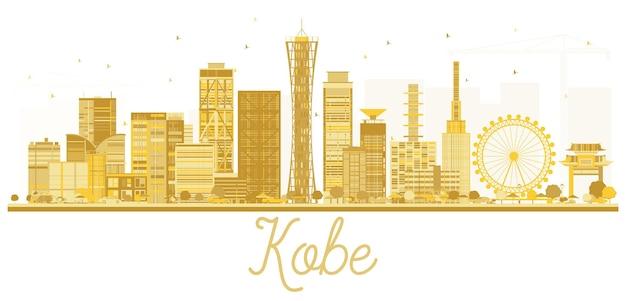 Kobe japan city skyline goldene silhouette. vektor-illustration.