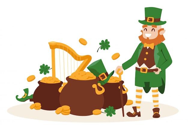 Kobold irland st. patricks tages lächelnde zeichentrickfilm-figur mit symbolen des glücks