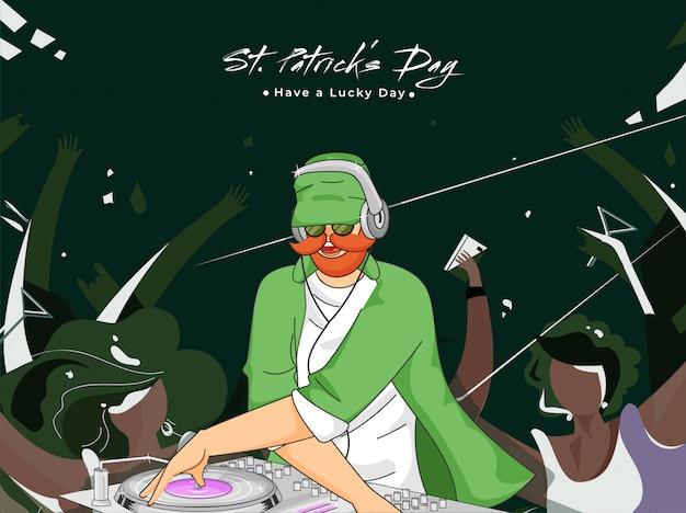 Kobold-mann, der dj-drehscheibe mit den kerlen tanzen auf grün für st patrick tagesfeier spielt.