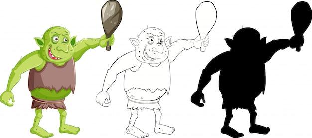 Kobold oder troll, der jagdwerkzeug in farbe und umriss und silhouette in der zeichentrickfigur auf weißem hintergrund hält
