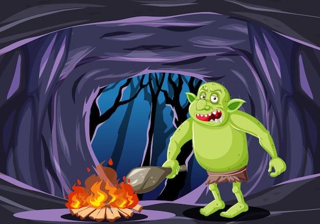 Kobold oder troll mit feuerkarikaturart auf dunklem höhlenhintergrund