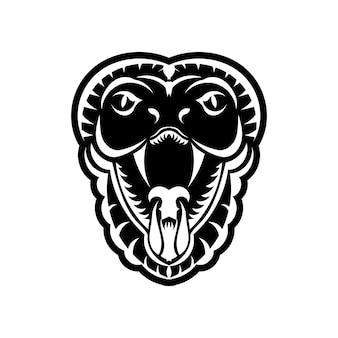 Kobra gesicht symbol schwarz abbildung. das emblem mit königskobra für ein sportteam. druckdesign für t-shirt.