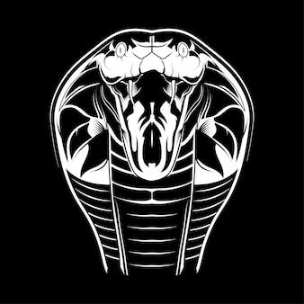 Kobra-hauptvektor auf schwarzem hintergrund