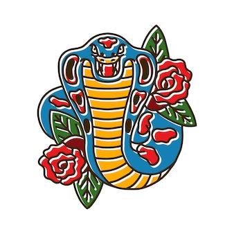 Kobra-schlange mit rose