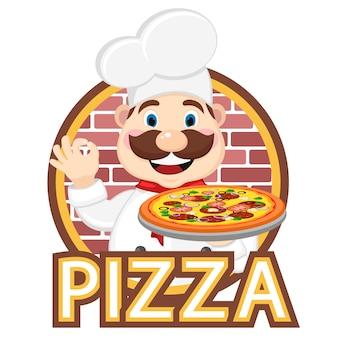 Koch hält pizza in der einen hand und die andere zeigt die klasse.