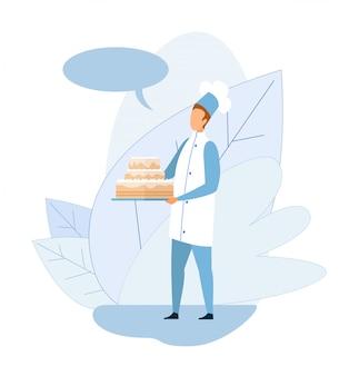 Koch in der uniform, die große glasierte kuchen-karikatur hält
