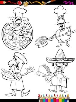 Koch köche legen cartoon malbuch