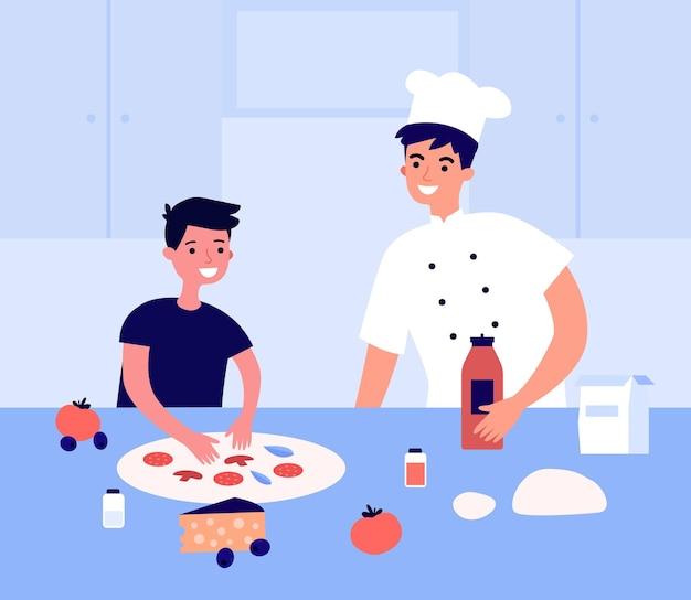 Koch macht pizza mit kleinem kind. kochen sie zusammen italienisches traditionelles essen mit kind im restaurant zubereiten. kinder-tutorial, klasse. hobby-aktivität. cartoon-vektor-illustration.