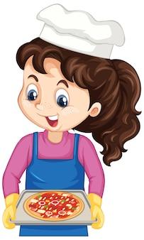 Koch-mädchen-cartoon-figur mit pizza-tablett