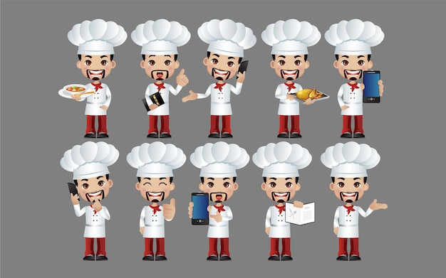 Koch. menschen mit unterschiedlichen posen.