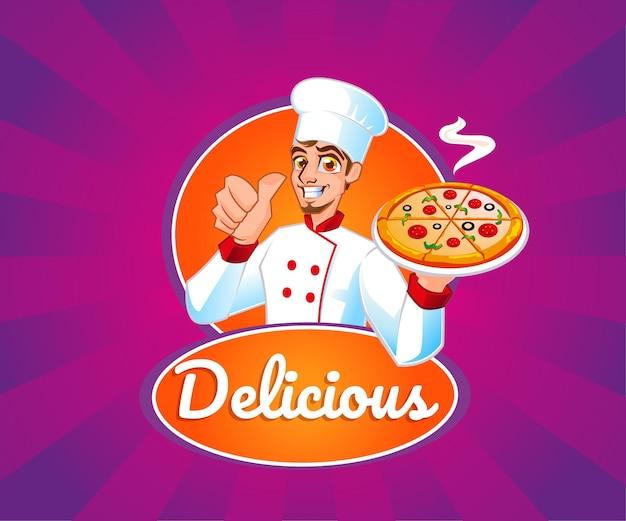 Koch mit pizza leckeres essen maskottchen logo