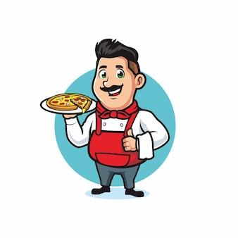Koch serviert eine pizza