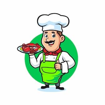 Koch serviert einen teller mit meeresfrüchten