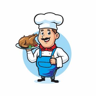 Koch serviert hühnchen gegrillt