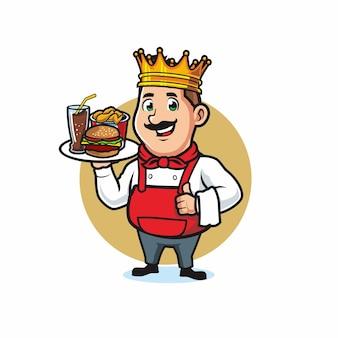Koch trägt krone und serviert speisen