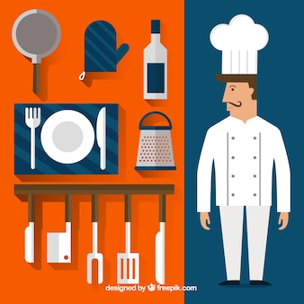 Koch und küchenutensilien