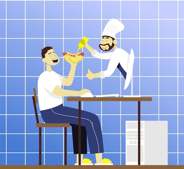Koch vom monitor gießt senf in einen hot dog konzept für foodblogger und internetunterricht