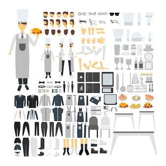 Koch zeichensatz für animation mit verschiedenen ansichten, frisur, emotion, pose und geste.