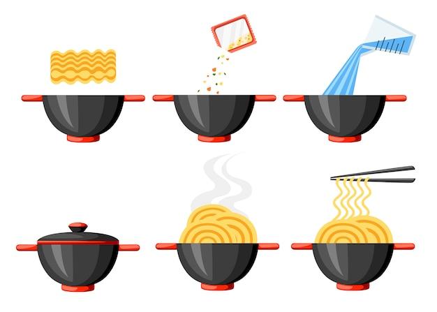 Kochanleitung. instant-nudeln. flache illustration. schwarze schale und stäbchen. illustration lokalisiert auf weißem hintergrund.