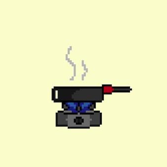 Kochen auf einem einzigen herd im pixel-art-stil