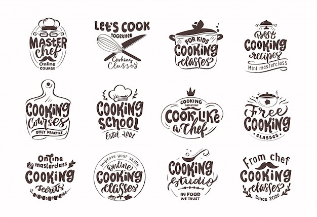 Kochen, briefmarken kochen. satz vintage retro-abzeichen, etiketten und logo