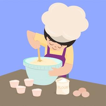 Kochen, cupcake backen