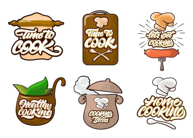 Kochen der farblogos eingestellt in karikaturart