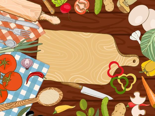Kochen des küchentischhintergrundes