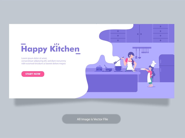 Kochen essen und bäckerei banner vorlage mit mama und kind konzept illustration