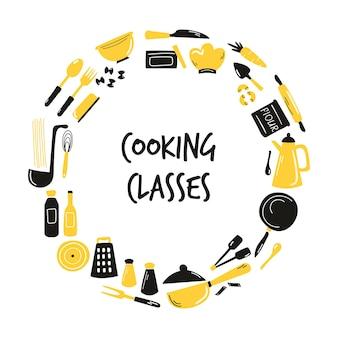Kochen handgezeichnetes abstraktes design mit küchenausstattung, ausrüstung. skizzierte vektorillustration.