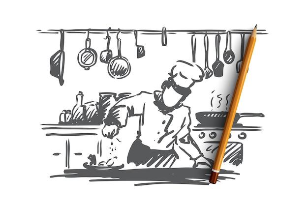 Kochen, koch, essen, essenskonzept. hand gezeichneter koch, der gericht in restaurantkonzeptskizze vorbereitet.