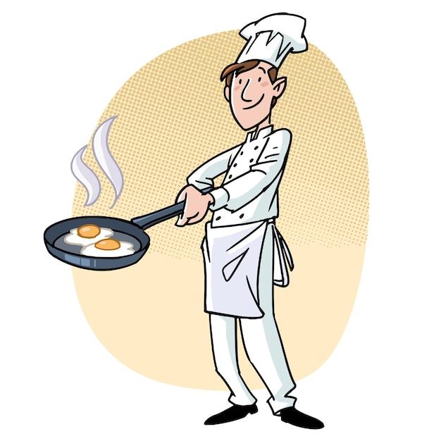 Kochen mit einer pfanne mit eiern