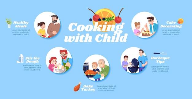 Kochen mit infografik-vorlage für kindervektoren. gesunde mahlzeiten und grilltipps ui-webbanner mit flachen zeichen. backen von fleisch und kuchen. cartoon-werbeflyer, broschüre, ppt-infoplakatidee